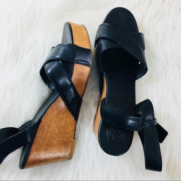 e3b17ab8b973e Tory Burch Shoes - Tory Burch black wedge sandals size 10.5